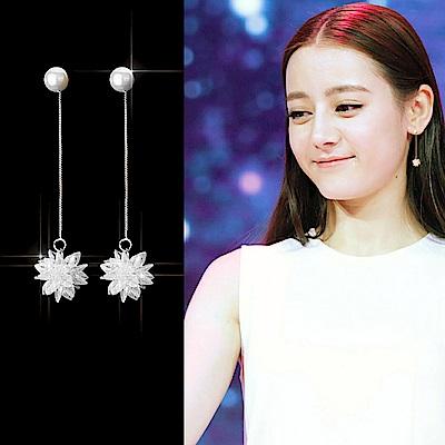 梨花HaNA 無耳洞韓國925銀晶燦冰晶雪花珍珠耳線華麗耳環夾式