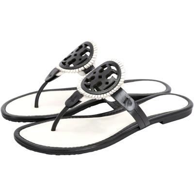 TORY BURCH MILLER 簍空雙T飾流蘇涼鞋(黑白色)