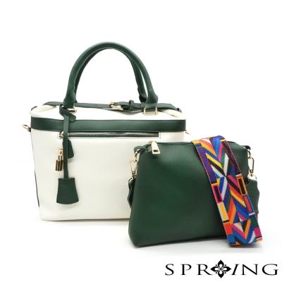 SPRING-la-vogue簡約奢華多way撞色子母包-綠白