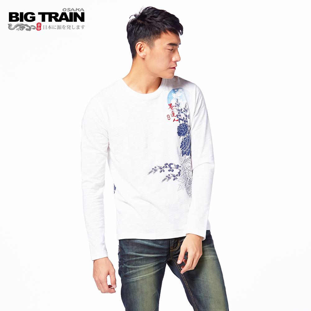 BIG TRAIN 秋夜虎蹤圓領長袖T-男-白色