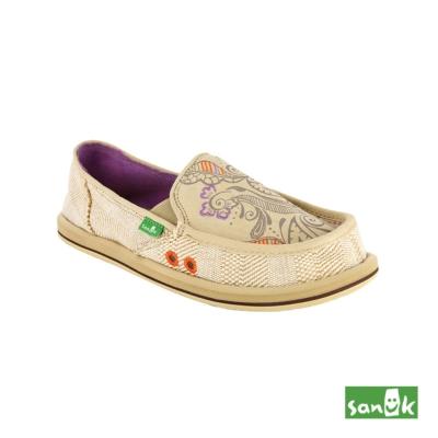 SANUK 趣味塗鴉懶人鞋-女款(米色)