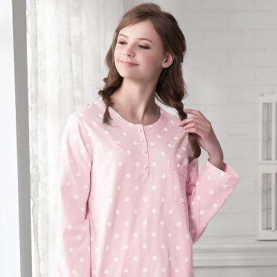 羅絲美睡衣 - 淘氣點點圓領長袖褲裝睡衣(甜美粉)