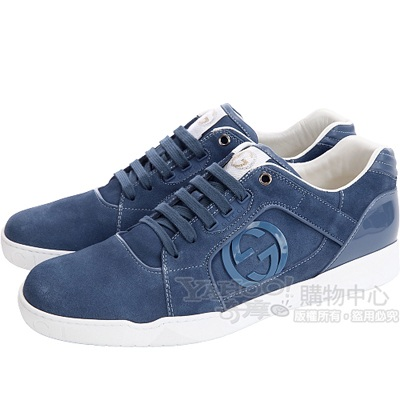 GUCCI 藍色雙G飾麂皮綁帶休閒鞋
