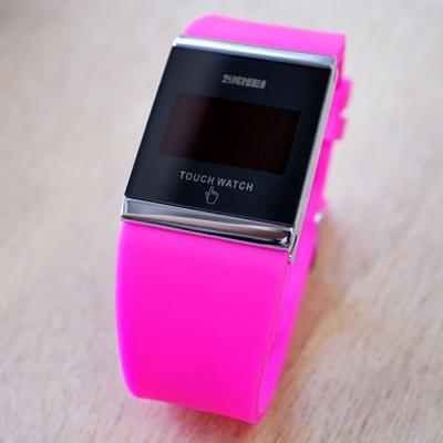 SKMEI時刻美 繽紛果凍LED多彩 觸控智能電子錶~粉