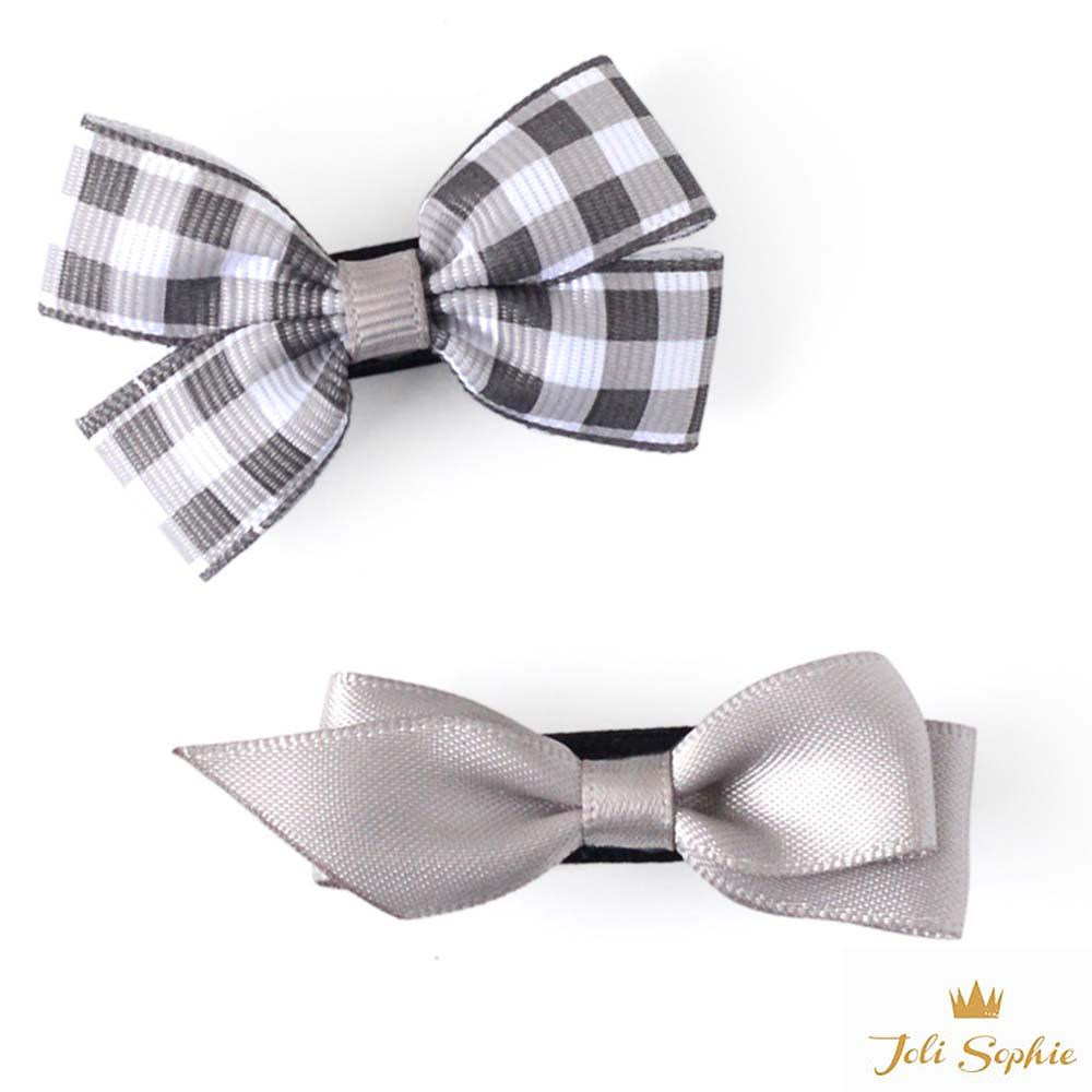 Joli Sophie 美國 灰白格紋緞帶蝴蝶結髮夾2入組