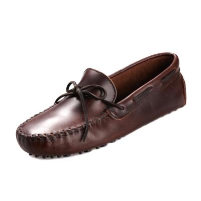 (男)MINNETONKA-經典牛皮莫卡辛帆船鞋-深咖啡色