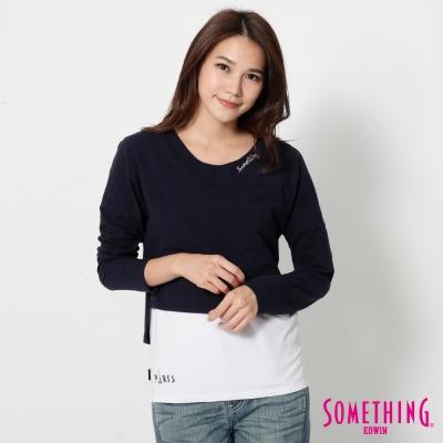 SOMETHING-假兩件長袖T恤-女-黑藍色