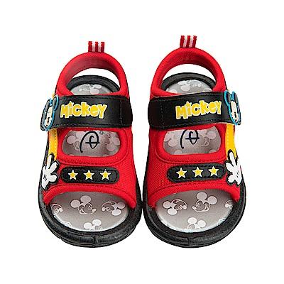 迪士尼 米奇 經典造型 魔鬼氈嗶嗶涼鞋-紅