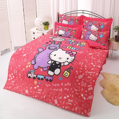 HELLO KITTY x RODY 歡樂時光,12系列-單人純棉三件式床包薄被套組(紅)