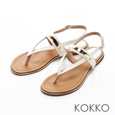 KOKKO-Y字金屬夾腳牛皮平底繫帶涼鞋-白色