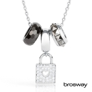 brosway Tres Jolie 施華洛世奇水鑽不鏽鋼項鍊 黑/心鎖