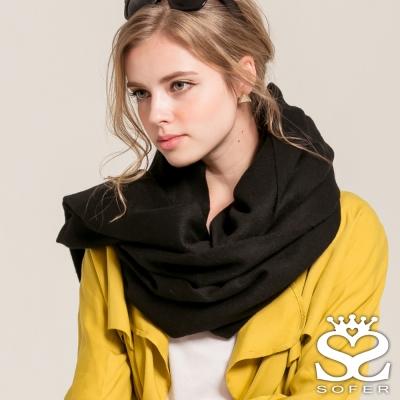 SOFER 簡約素色100%純羊毛保暖披肩/圍巾 - 經典黑new