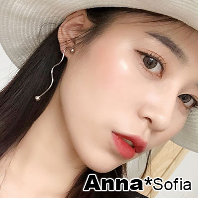 AnnaSofia 個性不規則曲線 不對稱925銀針耳針耳環(銀系)
