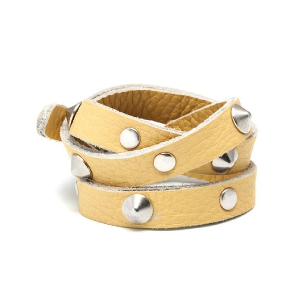 Anna Lou Of London 倫敦品牌 粉彩小羊皮革 銀色鉚釘三層手環 奶油黃