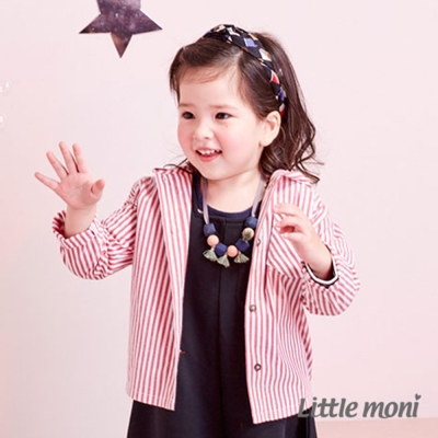 Little moni 兔耳連帽襯衫式外套 (共2色)