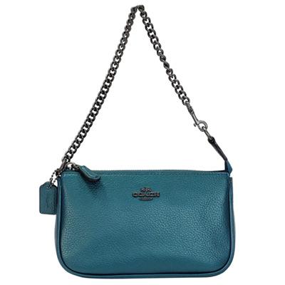 COACH孔雀藍荔枝紋全皮金屬鍊帶手提掛小包