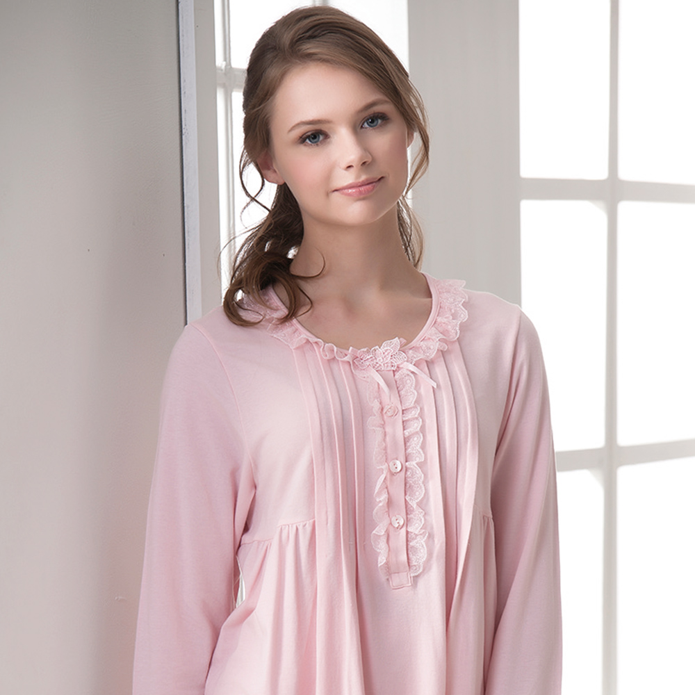 羅絲美睡衣 - 保養系列長袖褲裝睡衣(淺粉色)