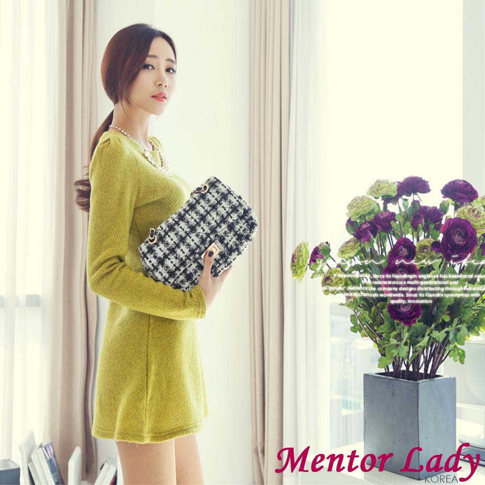 Mentor Lady-洋裝 鮮豔亮彩保暖混羊毛洋裝 (黃綠色)