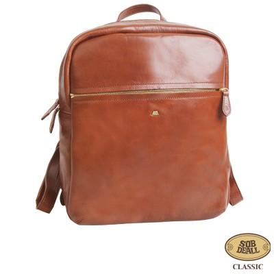 SOBDEALL 沙伯迪澳 - 真皮後背包 大容量 透氣設計 夾層多 經典咖啡
