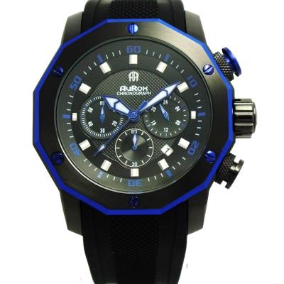 AuRox歐銳時 城市菁英三眼計時不袗石英錶(AR295-沈穩藍)-48mm