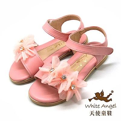 天使童鞋 優雅莉絲朵花漾涼鞋J8002 -粉