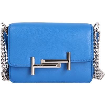 TOD'S Double T 金屬設計皮革雙肩帶鍊包(Mini/藍色)