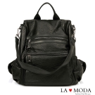 La Moda 百搭單品2WAY大容量防盜設計肩背後背包(黑)