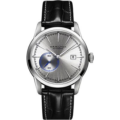 Hamilton RAILROAD 鐵路系列偏心機械腕錶-銀x黑/42mm