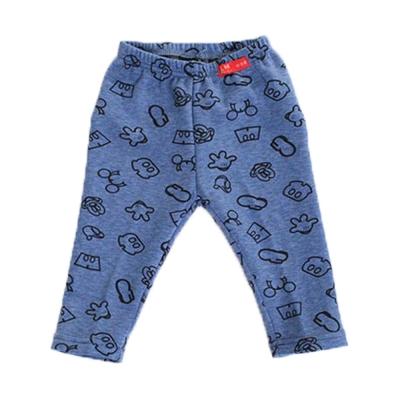 印花刷毛保暖長褲 藍 k60234