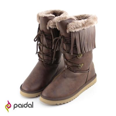 Paidal波西米亞風流蘇假綁帶顯瘦中筒雪靴-咖