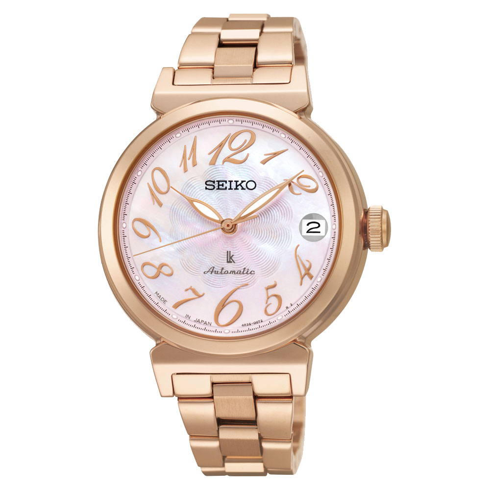 SEIKO LUKIA 經典機械錶(SRP870J1)-粉貝x玫瑰金/33mm