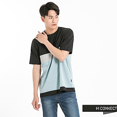 H:CONNECT 韓國品牌 男裝-色塊組合T-Shirt-黑