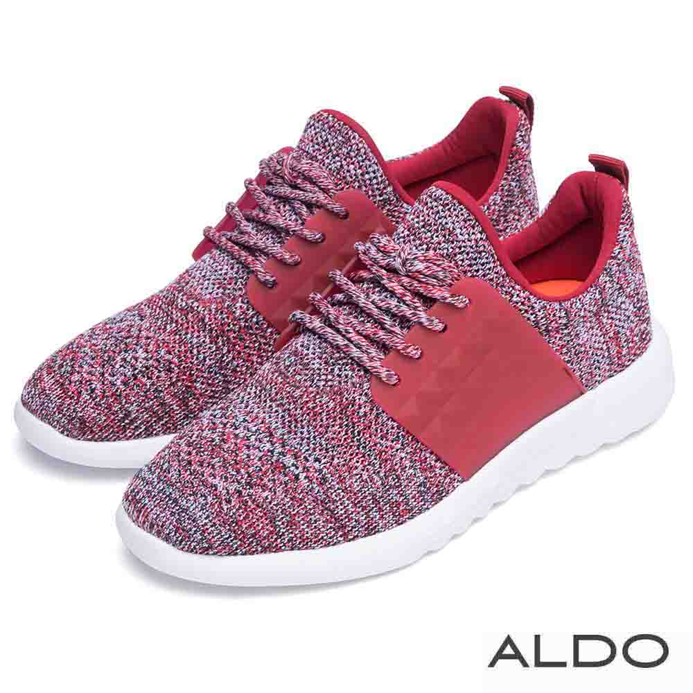 ALDO 原色布面網眼蝴蝶結厚底運動鞋~針織紅色