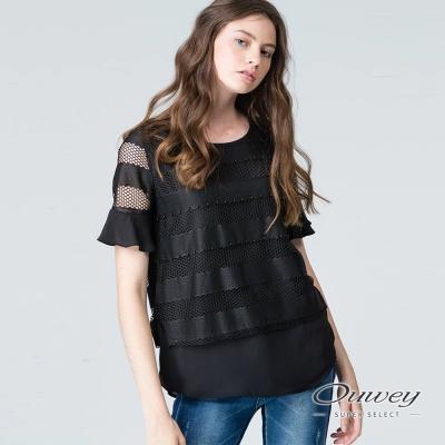 OUWEY歐薇 簡約優雅拼接縷空上衣(黑/白)