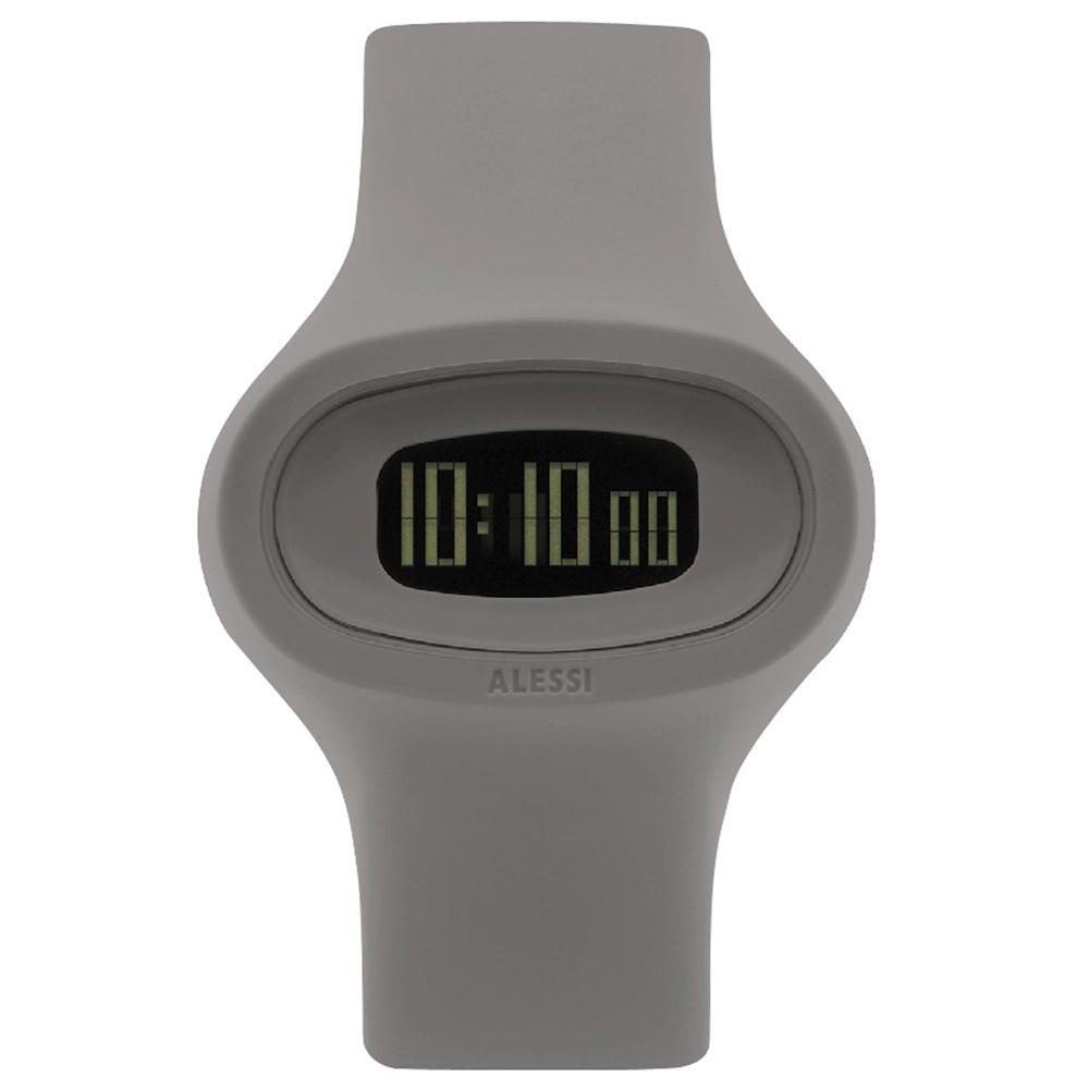 ALESSI 清晰潮流電子腕錶-灰/43mm
