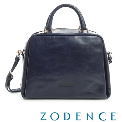 ZODENCE-彩色植鞣革系手挽兩用貝殼包-藍