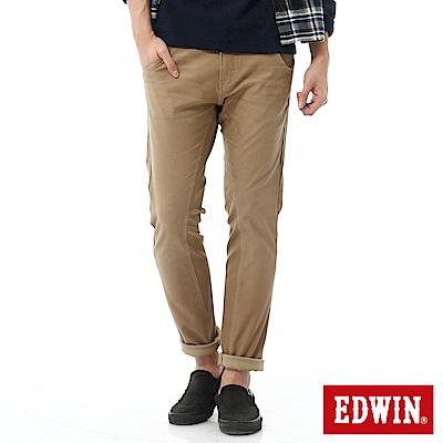 EDWIN 迦績褲 剪接立體窄直筒牛仔褲-男-灰卡其