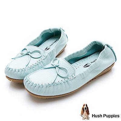 Hush Puppies 可彎曲豆豆底休閒鞋-水藍