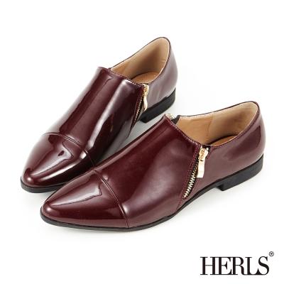 HERLS-品味 內真皮 雙拉鍊 紳士樂福鞋-酒紅色