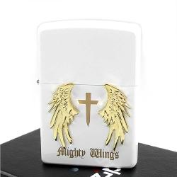 【ZIPPO】日系~Mighty Wings-天使翅膀立體貼飾打火機(白)