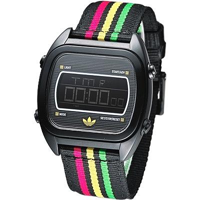 adidas Sydney 亮采休閒風帆布電子腕錶-黑/40mm