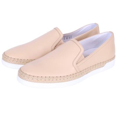 TOD'S SLIP-ONS 牛皮拼接休閒便鞋(女鞋/裸色)