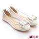 BESO 性感甜心 透視網布蕾絲雙蝴蝶平底鞋