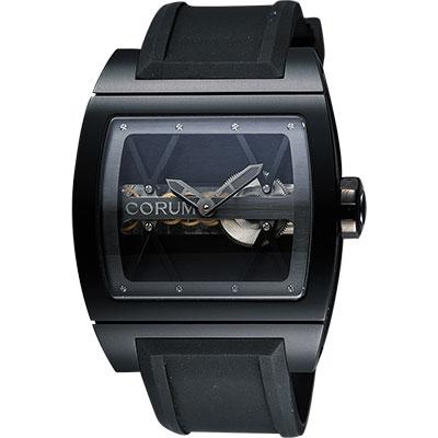 Corum 崑崙 Ti-Bridge雙鏤空限量手動上鍊械腕錶-黑/43mm