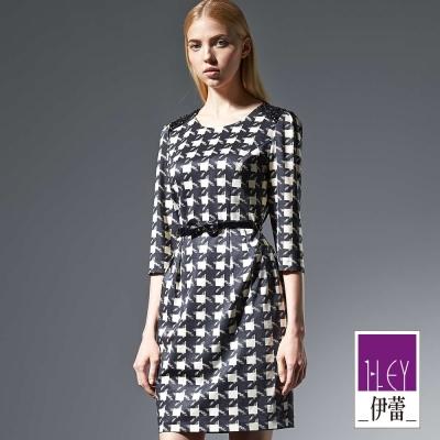 ILEY伊蕾-黑白閃耀腰帶洋裝