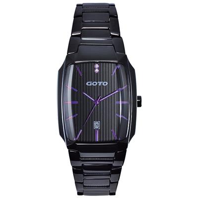 GOTO Laconic時尚腕錶-黑x紫/28mm