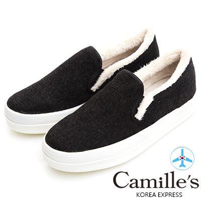 Camille's 韓國空運-正韓製-格紋毛呢懶人休閒鞋-黑色