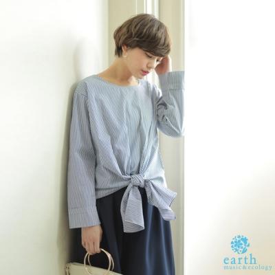 earth music  設計感前綁帶袖反摺襯衫