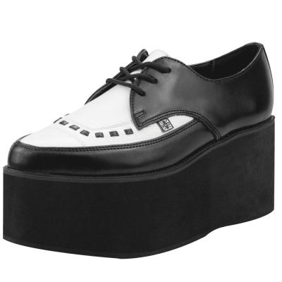 TUK尖頭厚底龐克鞋-黑/白