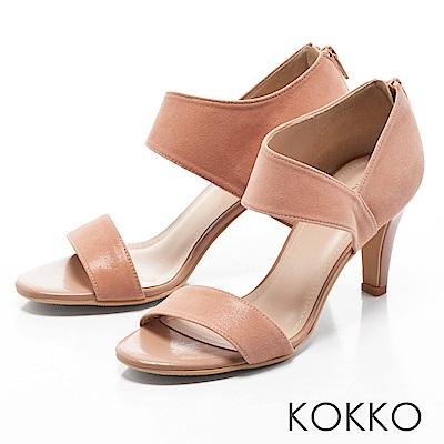 KOKKO-最夯話題簡約線條真皮高跟涼鞋-珊瑚粉